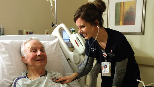 Medical Center of the Rockies registered nurse Emily Young takes the vitals of cardiac patient Rex Kellums. MCR was recently recognized as a Magnet organization by the American Nurses Credentialing Center Commission for the second time. The Magnet Recognition Program is the gold standard for nursing programs.