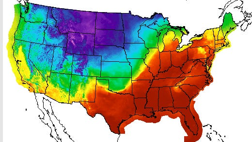 A heat map of high temperatures throughout the mainland United States on Feb. 20, 2018.
