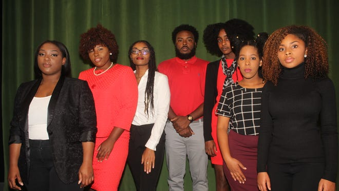 Fall 2017 J-School Journals documentary selections (from left to right): LaRhonda Celestin, Marquavia Smith, Afriqiyah Lanier, Darryl Darby, Kayla Parker, Samantha Joseph, and Sharon Washington.