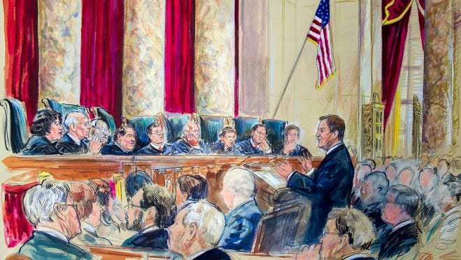 Arguments before the Supreme Court hearing on same-sex marriage, April 28.