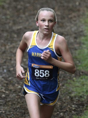 Mariemont's Marin Valentine sails toward a first place finish with a time of 20:16.6 at the Mason Invitational.