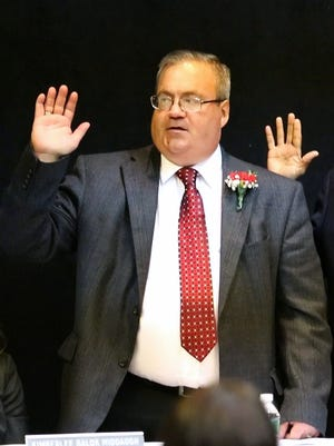 City of Elmira Fourth District Councilman Mark S. Hitchcock is sworn into office January 1 at The Clemens Center in Elmira.