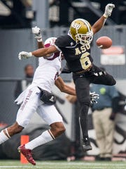 Alabama State cornerback Jeffrey Hill (6) breaks up