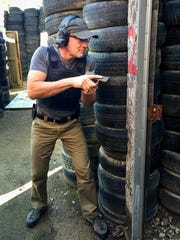 Jim Koenigsaecker provided this photo of him running the Mozambique Drill at the Record Range in Redding.
