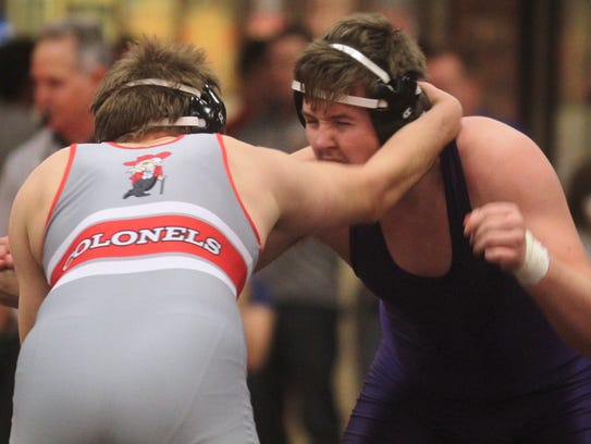 Tim Rolf of Campbell County, right, vs Jacob Peters