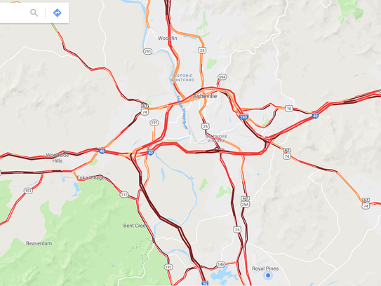 Traffic conditions at 5:30 p.m. on Dec. 31.
