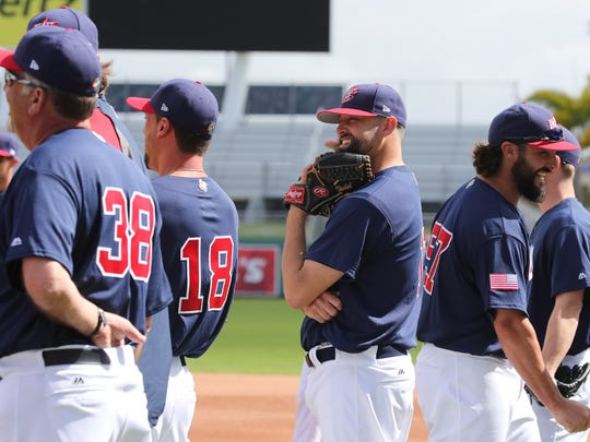 Pat Nesheck shares a laugh with his teammates. Nesheck plays for the Philadelphia Phillies and once played with the Fort Myers Miracle. Team USA of the World Baseball Classic were training in Fort Myers and playing two consecutive tune-up games, one against the Minnesota Twins on Wednesday and another against the Boston Red Sox on Thursday. This team includes many players who normally stay in Arizona for spring training.