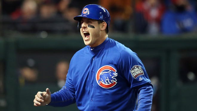 Anthony Rizzo reacts after scoring a run in the fifth inning.