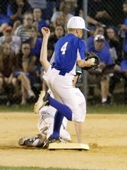 Horseheads second baseman Lucas Granger forces out