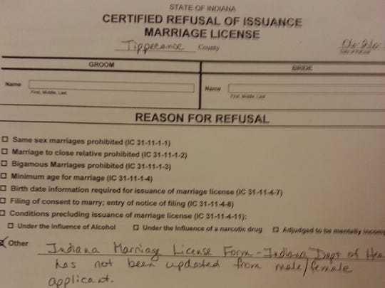 Before Tippecanoe County started issuing marriage licenses to same-sex couples, some received this certified refusal of issuance form.