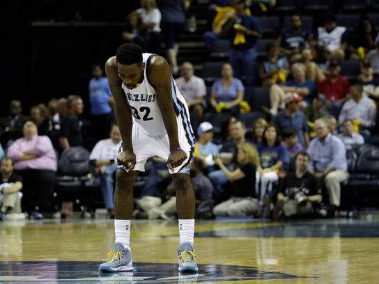 Memphis Grizzlies forward Jeff Green stands on the