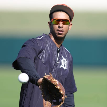 Detroit Tigers outfielder Anthony Gose takes part in