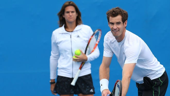 Coach Amelie Mauresmo watches Andy Murray in a practice session during day nine of the 2015 Australian Open on Jan. 27.