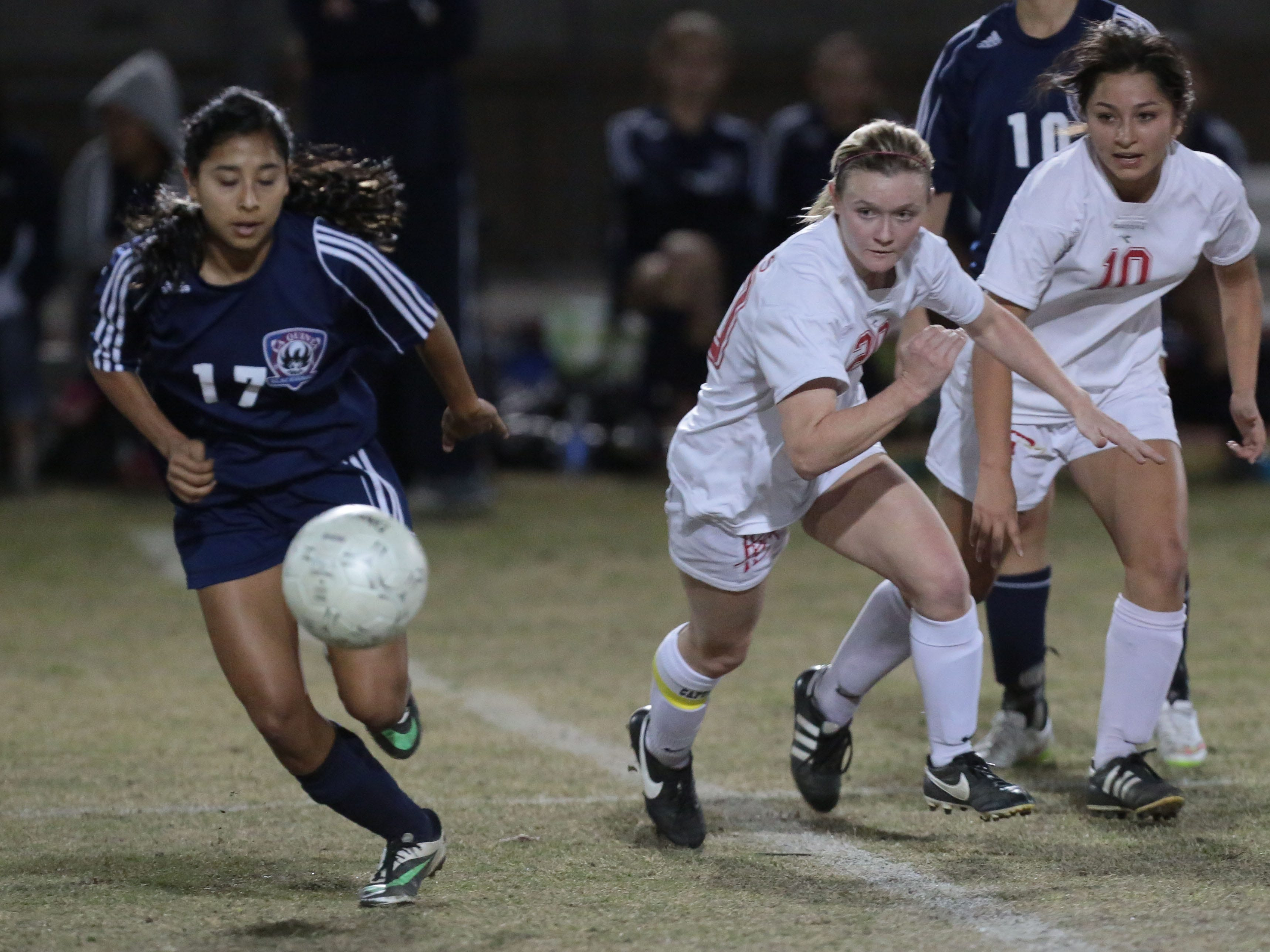 La Quinta's Marisa Rodriguez (left) controls the ball in action against Palm Desert on Wednesday. The Blackhawks won 1-0.