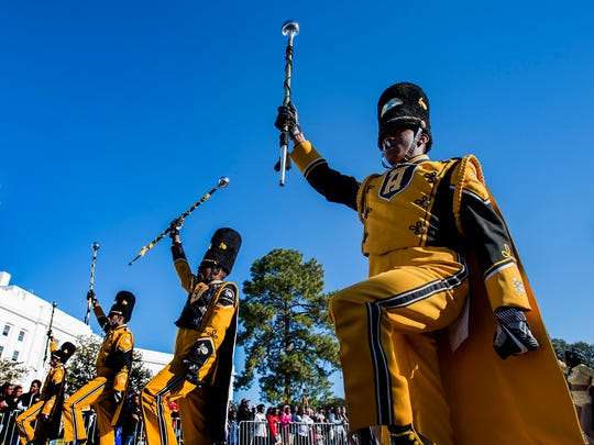 The Alabama State University Marching Hornets perform