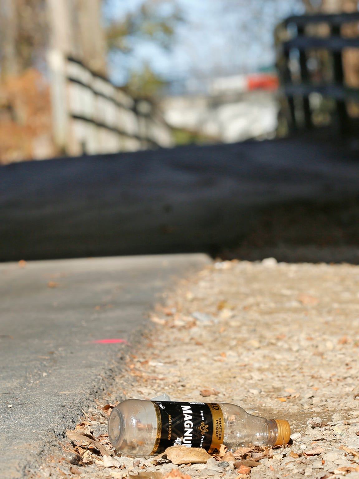 An empty beer bottle lies next to the Wabash Heritage Trail Thursday, November 19, 2015, beneath the State Street bridge in West Lafayette. A homeless man in the area said the bottle and other trash nearby were left behind by other homeless, who often gather beneath the bridge.