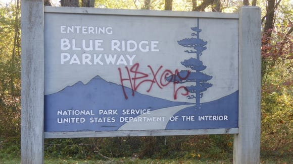 There has been a sharp increase in graffiti on Blue Ridge Parkway signs, bridges and tunnels, such as this one that was tagged last year.