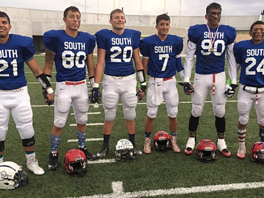 Frankie Castillo for the Sun-News   Members of the South's All-Stars included from left, Frankie Castillo, Silver; Mike Pena, Cobre; D.J. Bleich, Silver; Cavin Roberson, Cobre; James Lee, Cobre; and Marcus Sanchez, Cobre.