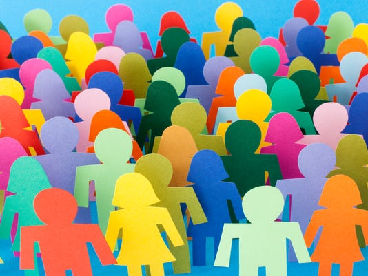 Multicolored anonymous crowd