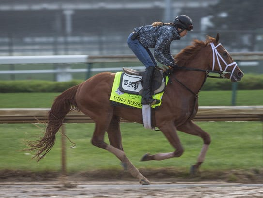 Todd Pletcher's Kentucky Derby hopeful, Vino Rosso worked out over the Churchill Downs' track. April 24, 2018.