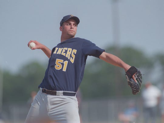 Toms River North's J.M. Gold delivers a pitch for Toms River North during the 1998 season .