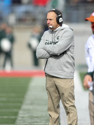 Michigan State coach Mark Dantonio on the sideline during action against Ohio State, Saturday, Nov. 11, 2017 in Columbus, Ohio.