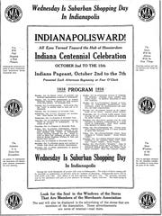 Indiana Centennial celebration Oct. 2, 1916, Indianapolis Star.