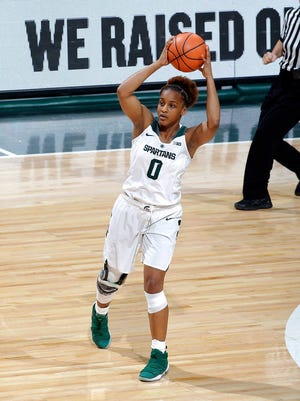 Michigan State's Shay Colley looks to pass against Cincinnati, Thursday, March 15, 2018, in East Lansing, Mich. MSU won 81-75.