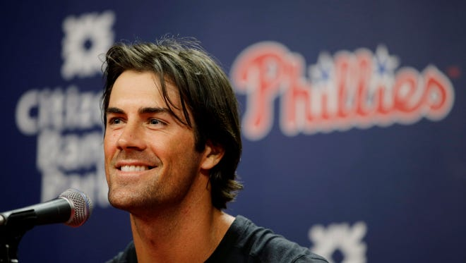 File: Philadelphia Phillies pitcher Cole Hamels smiles as he speaks to the media during a news conference before an exhibition baseball game against the Pittsburgh Pirates, Friday, April 3, 2015, in Philadelphia. (AP Photo/Matt Slocum)