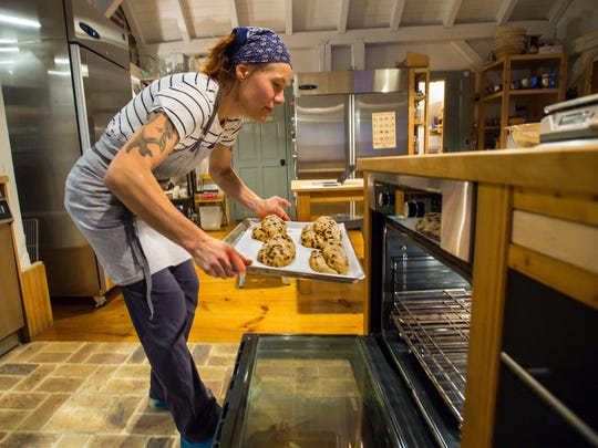 Heike Meyer makes stollen, a traditional German Christmas treat, at Brotbakery in Fairfax on Thursday, December 15, 2016.
