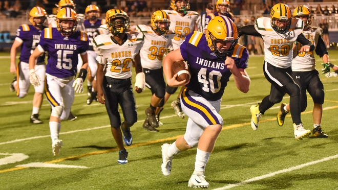 Indianola's Jay Hale heads to the end zone against Des Moines Hoover on Friday, Aug. 31, at Indianola. The Indians won the game 44-13 to improve to 2-0.