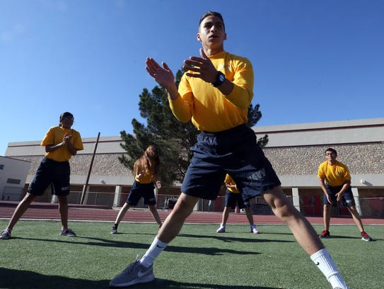 Junior Brandon Contreras leads a group of Naval JROTC