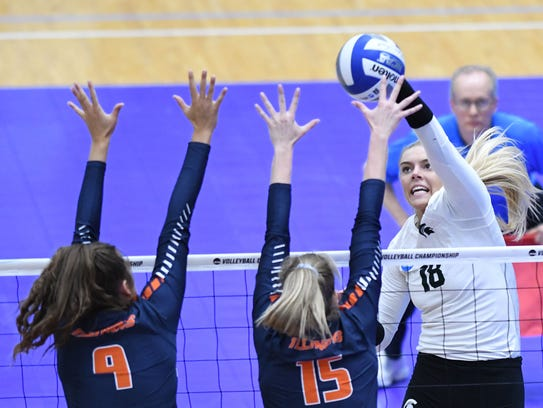 MSU's Holly Tolliver goes for the kill attempt in the