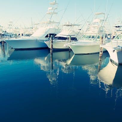 Yachts docked in harbor