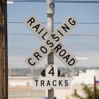 Close-up of a railroad crossing sign.