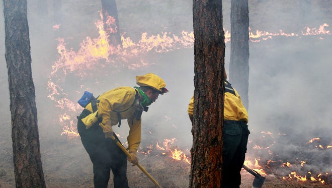 In this June 12, 2013, file photo, firefighters burn off natural fuel in an evacuated neighborhood, prepping the area for the encroaching Black Forest Fire.