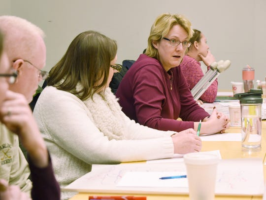 Mary Krembs, a faculty member at Bard College, leads a discussion during a professional development program with teachers from the Pine Plains Central School District.