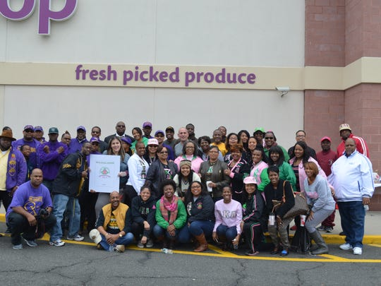 The members of several historically black Greek -letter sororities and fraternities gathered at the Stop & Shop in the Somerset section of Franklin on Nov. 7 for a successful food drive to benefit those in Plainfield and New Brunswick.