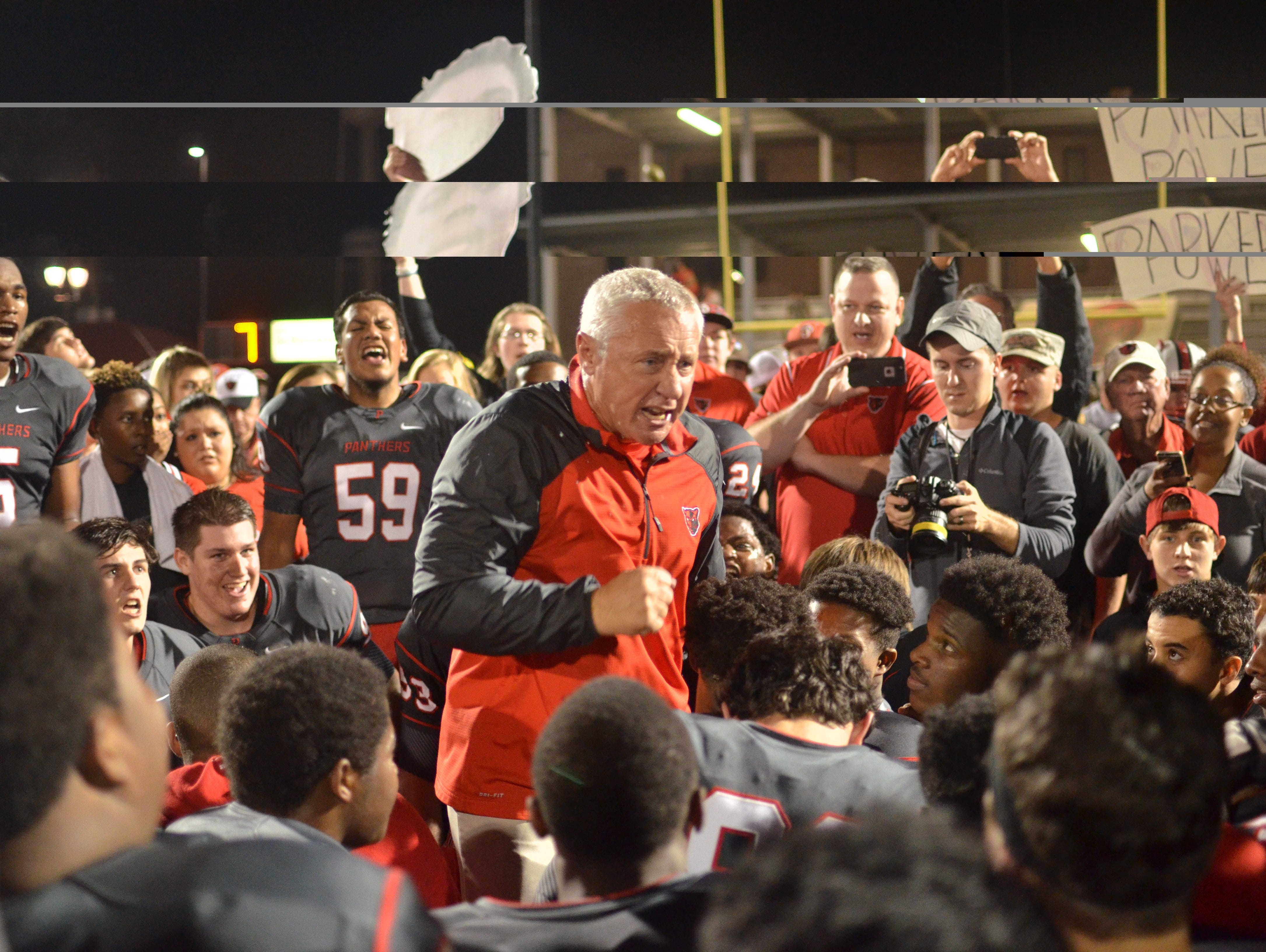 Petal coach Marcus Boyles speaks to his team after Friday's win.