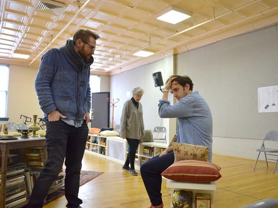 """Director Mike Donahue talks with Michael Goldsmith, who plays Leo, during a rehearsal for Amy Herzog's """"4000 Miles"""" at Actors Theatre of Louisville. Dee Maaske, who plays Leo's grandmother Vera, is in the background."""