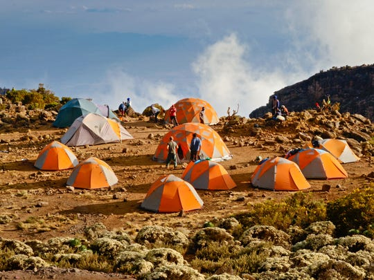 Tents set for campers on the Mount Kilimanjaro Climb