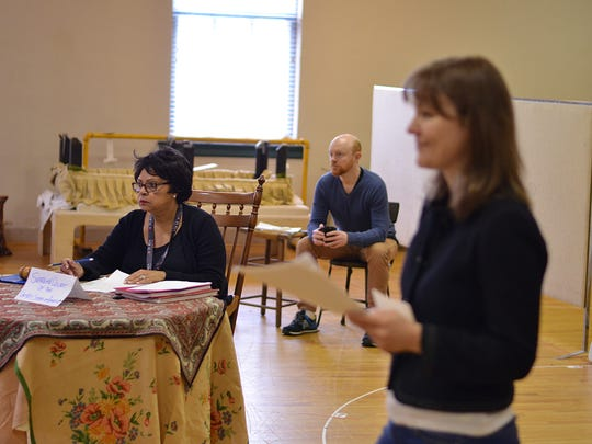 """Lynda Gravatt, Jeff Biehl and Kelly McAndrew in rehearsal for Pelsue's """"Wellesley Girl,"""" part of the 2016 Humana Festival of New American Plays at Actors Theatre of Louisville."""