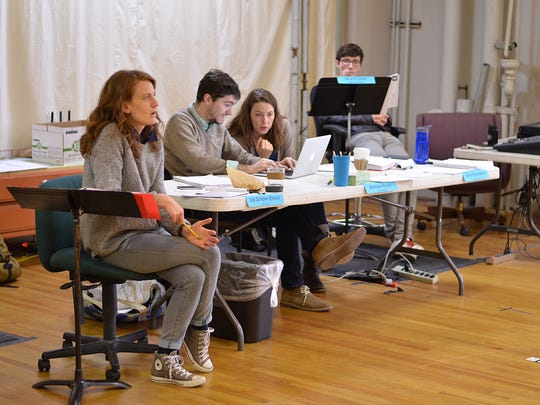 """Director Lee Sunday Evans, playwright Brendan Pelsue and literary manager Jenni Page-White in rehearsal for Pelsue's """"Wellesley Girl,"""" part of the 2016 Humana Festival of New American Plays at Actors Theatre of Louisville."""
