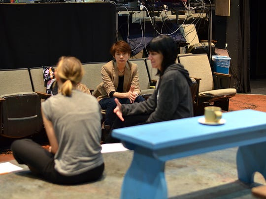 """Briana Pozner, playwright Hansol Jung and director Leigh Silverman in rehearsal for Hansol Jung's """"Cardboard Piano,"""" part of the 2016 Humana Festival of New American Plays at Actors Theatre of Louisville."""