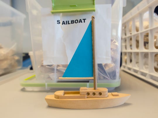 A model ship is displayed as part of a model ship building event Saturday, April 2, put on by the Great Lakes Nautical Society at the Maritime Center in Port Huron.