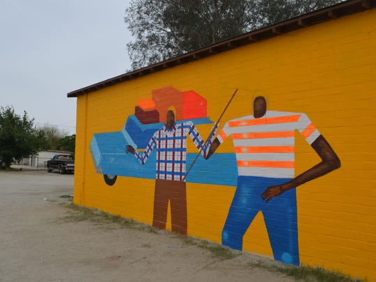 An unfinished mural, by the Date Farmers, is painted on a wall of Casa Del Trabajador in downtown Coachella. At one time, the building was used as an office by labor leader Cesar Chavez.