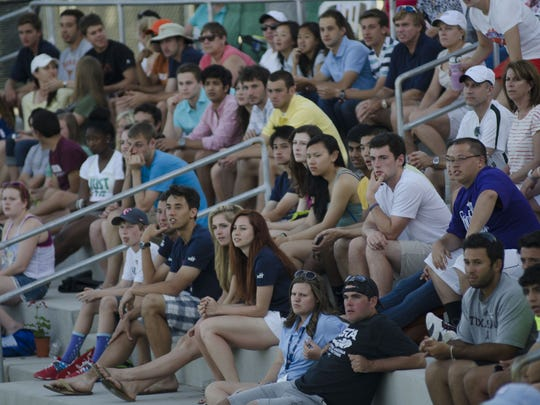 Spectators crowd the stands at the Surprise Tennis and Racquet Complex for the Tennis on Campus  competition.