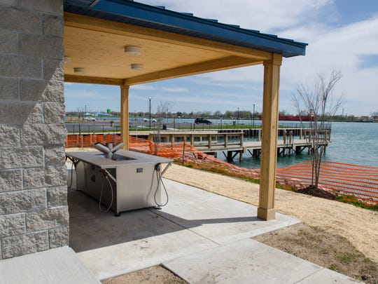 A new fish cleaning station is set up at the new restroom and concession stand Monday, May 9, at Chrysler Beach in Marysville.