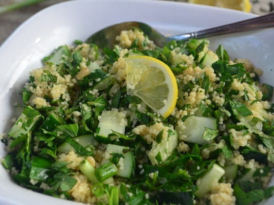 This Cucumber Mint Couscous Salad is similar to tabbouleh, a Middle Eastern salad. My version is easier and has less herbs. It's a potluck favorite.