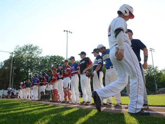 Players from the Blue Team are introduced before the Gold Team Monday, June 19, during the SC4 Blue Water Area All-Star Game at Sanborn Park.
